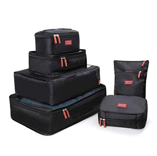 Joyoldelf 7 Stück Kleidertaschen Kofferorganizer Packtaschen mit Wäschebeutel,Handgepäck und Seesäcke (Schwarz)