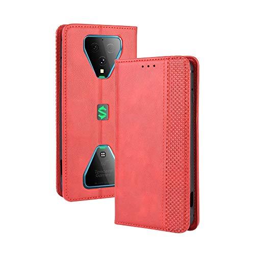 LAGUI Kompatible für Xiaomi Black Shark 3 Hülle, Leder Flip Hülle Schutzhülle für Handy mit Kartenfach Stand & Magnet Funktion als Brieftasche, rot