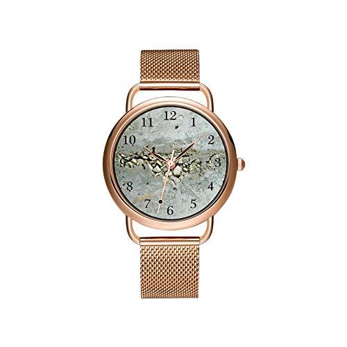 Reloj de Pulsera para Mujer con Correa de Malla Ultrafina, Resistente al Agua, de Cuarzo, para Navidad, con Pared de hormigón Rota y Piedras pequeñas