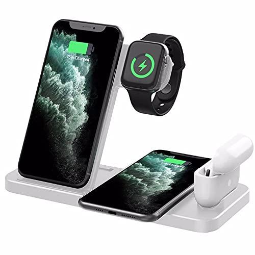 Nomi Cargador Inalámbrico, 4 En 1 Estación De Carga Inalámbrica, 10 W con Certificación Qi para iPhone 11/11 Pro MAX/X/XS/XR/XS MAX/8 Plus, Apple Watch, AirPods Pro, Samsung Y Más