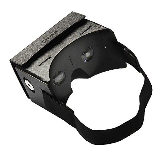 Google Cardboard Kit,Soyan 45mm Focal Length Virtual Reality Leather Waterproof Google Cardboard,DIY 3D Glasses,Unassembled Kit with NFC Chip headset Free Hand Black