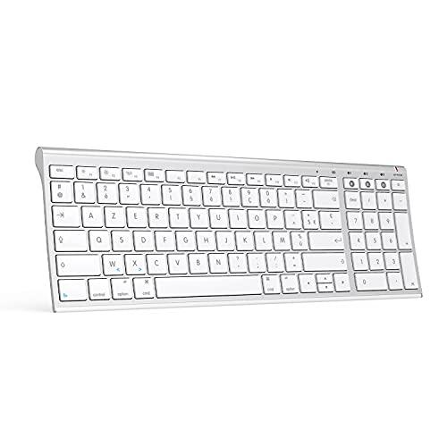 Clavier sans Fil Multi-Dispositifs pour Macbook, Clavier Bluetooth Rechargeable AZERTY Connecter 1 à 3 appareils pour iMac, iPad, iPhone, Mac OS X, iOS, Apple OS- Blanc/Argent