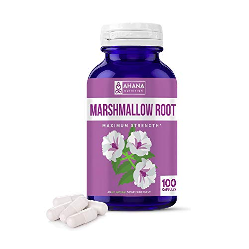 Marshmallow Root Capsules by Ahana Nutrition – Supports Weight Loss, Digestive Health, Supports Inflammation, Strengthens Hair and Supports Gut Health (480mg - 100 ct)