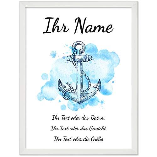 Personalisiertes Geschenk BILD MIT RAHMEN (weiß) Baby Geburt oder Taufe - Poster 40x30 cm mit Wunsch-Name und Datum - schlicht - Blau Aquarell Look mit Anker für Jungen/Jungs
