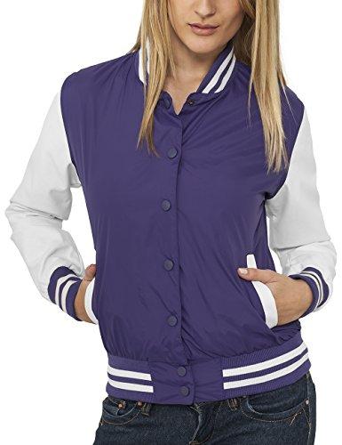 Urban Classics Damen Ladies Light College Jacket Jacke, Rosa (pur/wht 194), 40 (Herstellergröße: L)