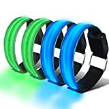 HEAWAA 4 Stück LED Reflective Armband Leucht...