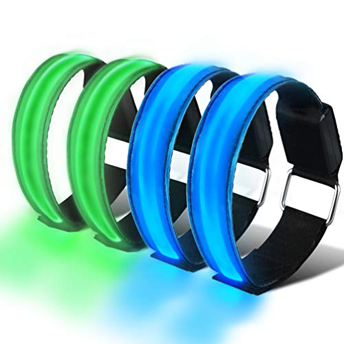 HEAWAA 4 Stück LED Reflective Armband Leucht Armbänder Wasserdicht Leuchtband Nacht Sicherheits Licht Reflektierende Armband Für Outdoor-Sport, Nachtlauf, große Festivalabende, Konzerte