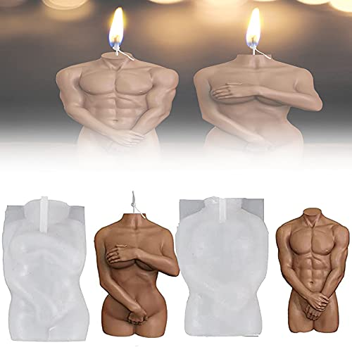 3D Body Silicone Resin Casting Mold, Men Women Human Aromatherapy Plaster Wax Silicone Mould, Woman Silicone Body Candle Molds (Man mould+Woman mold)