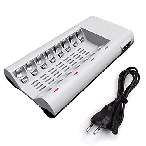 FAMKIT Smart 8 Bay AA AAA cargador de batería para NiMH NiCD baterías recargables incorporadas 2 puertos USB de carga rápida
