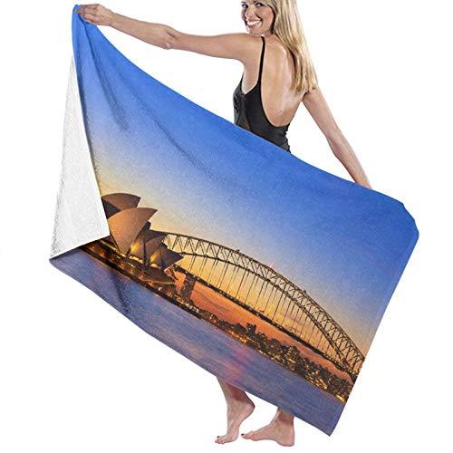 Toallas de baño,Sydney Australia Opera House Ver Hora del crepúsculo en la Noche Sydney, Australia,Manta Suave de Las Toallas de Playa de la Microfibra para el Viaje de la Piscina del baño