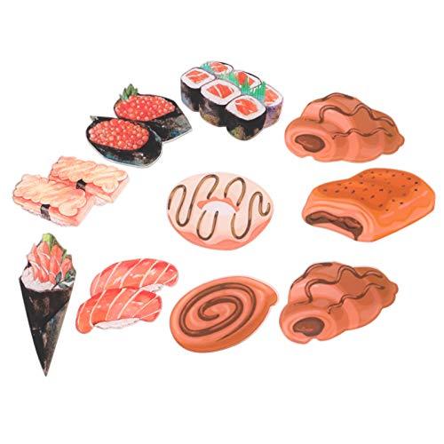 SOLUSTRE 10 Unidades Fod Imán para Refrigerador Sushi Imán para Postre Pegatina Magnética para Nevera para Oficina en Casa Armarios para Salón de Clases Pizarra (Patrón Aleatorio)