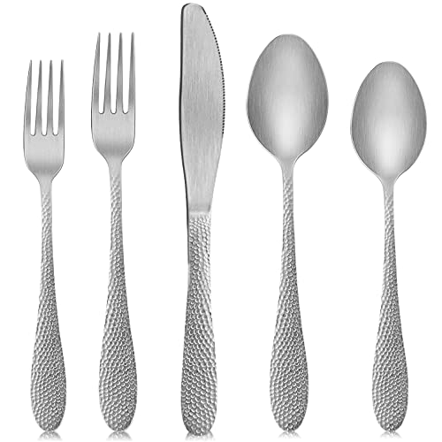 SoulFox Silver Silverware Set,20-Piece Flatware Cutlery Set in Ergonomic Design Size and Weight, Stainless Steel Flatware Set Service for 4.Used for Home and Restaurant, Dishwasher Safe(Silver)
