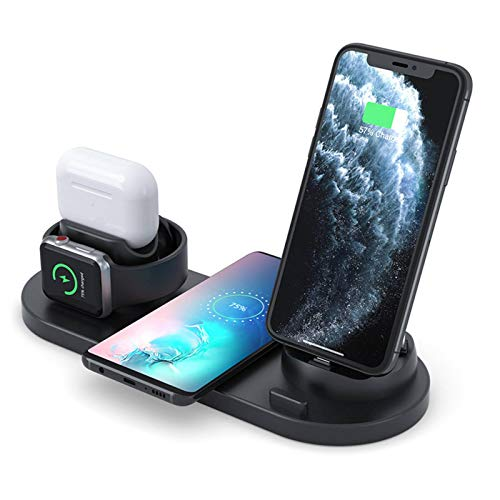 N-B 4 In 1 Wireless Charger For Apple Watch and AirPods Charging Base, Suitable For IWatch Series SE/6/5/4/3/2/1 Bedside Table Mode, Suitable For iPhone 12/11/Pro MAX/XR/XS Fast Maximum Charge