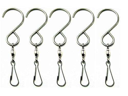 SUNREEK ™ 5 pcs/10 pcs Lisse rotatifs pivotant Crochets Clips pour Suspension Vent Spinners Rotation Spirale Queue Cristal Twisters Article de fête Silver