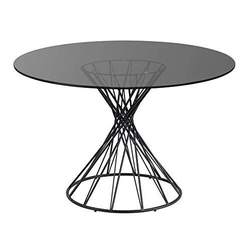 Kave Home - Mesa de Comedor Niut Redonda Ø 120 cm de Cristal con Acabado Ahumado Oscuro y Base de Acero en Negro
