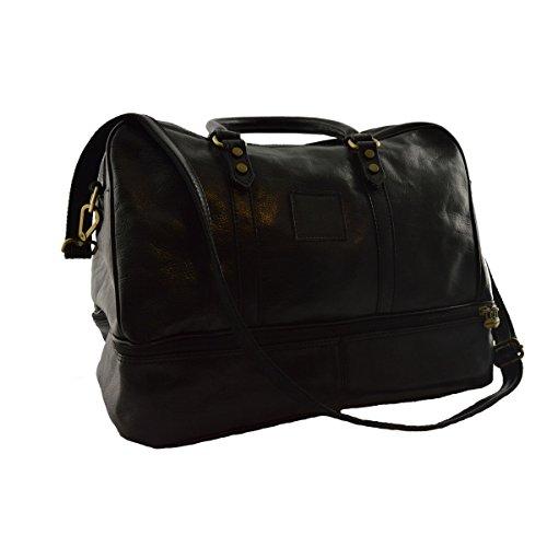 Buy Discount Leather Travel Bag Color Black