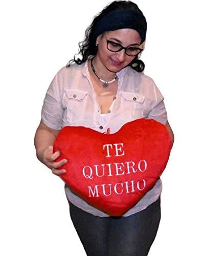 ML Regalo Dia de la Madre cojin para regala el Dia del Padre, Corazon con Frase romantica TE Quiero Mucho 45cm