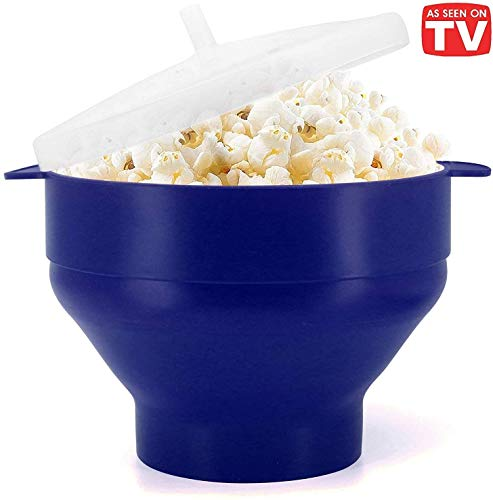 Discover Bargain Microwaveable Silicone Popcorn Popper, BPA Free Collapsible Hot Air Microwavable Po...