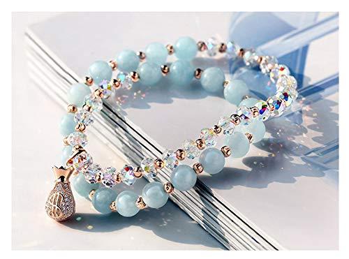 Dames dubbele rij kan worden uitgebreid gouden geld tas liefde armband sieraden Plating 14K goud glanzende armband vriendin vriendin paar verjaardag cadeau (blauw).