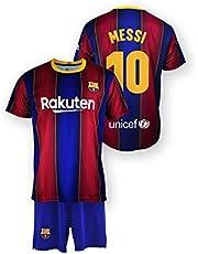 Conjunto Camiseta y pantalón Replica FC. Barcelona 1ª EQ Temporada 2020-21 - Producto con Licencia - Dorsal 10 Messi - 100% Poliéster - Talla