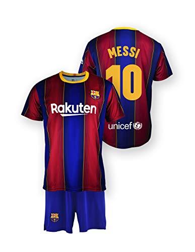 Conjunto Camiseta y pantalón Replica FC. Barcelona 1ª EQ Temporada 2020-21 - Producto con Licencia - Dorsal 10 Messi - 100% Poliéster - Talla 10 años