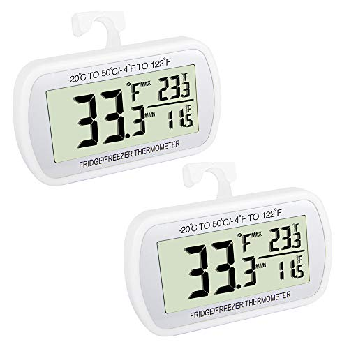Waterproof Refrigerator Fridge Thermometer, Digital Freezer Room Thermometer , Max/Min Record Function Large LCD Screen and Magnetic Back for Kitchen, Home, Restaurants (2 Pack)