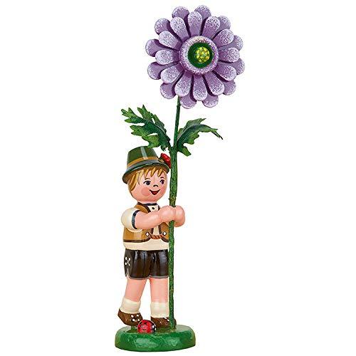 Hubrig Volkskunst Blumenkind Junge mit Dahlie - 11 cm