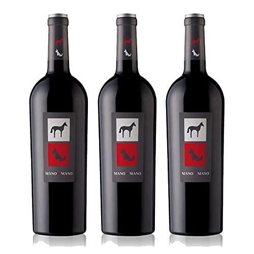 Vino Tinto Mano a Mano de 75 cl - D.O. Castilla La Mancha - Bodegas Mano a Mano (Pack de 3 botellas)