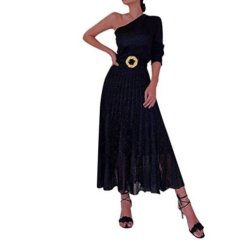 Vestido Mujer Negro Un Hombro Manga Larga Noche Falda