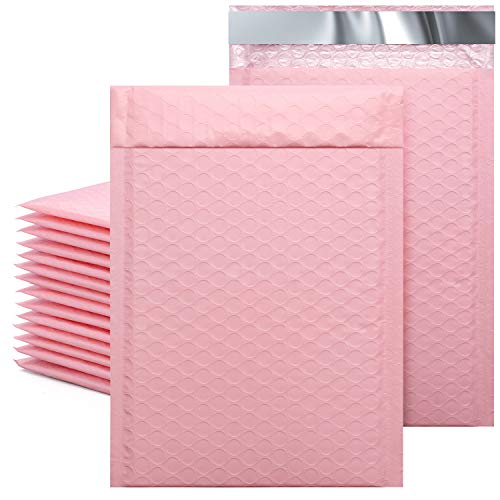 """Metronic 25Pcs Poly Bubble Mailers, 6X10 Inch Padded Envelopes Bulk #0, Bubble Lined Wrap Polymailer Bags for Shipping/ Packaging/ Mailing Self Seal Sakura Pink (Inside Size: 6x9"""")"""