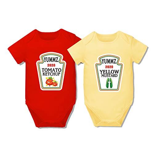 AOUYOA Baby Twins Body Regalo Abbigliamento Ragazzo Yummz Ketchup Senape Baby Shower Set Baby Twins Abiti Km gemelli 6 mesi
