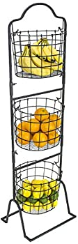 Sorbus 3-Tier Wire Market Basket Stand for Fruit Vegetables Toiletries Household Items and More Stylish Tiered Serving Stand Baskets for Kitchen Bathroom Storage Organization  Black