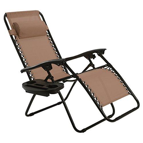 Goplus Folding Zero Gravity Reclining Lounge Chairs Outdoor Beach Patio W/Utility Tray (Brown)