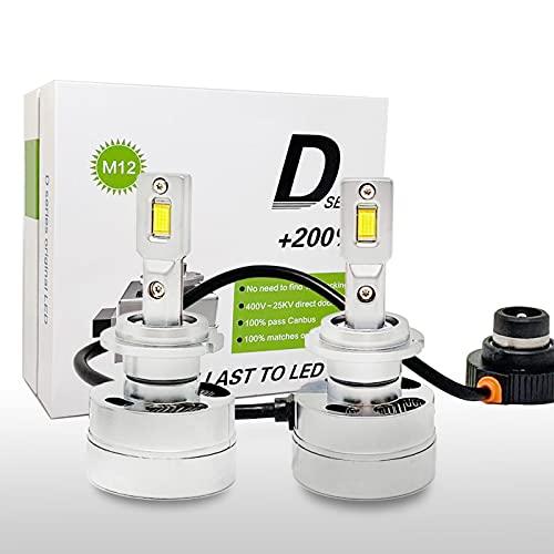 SageSunny Bulb D2S D2R LED Kit de conversión 6000k blanco puro 90W 10000lm 280 ° luz de cruce y luz de carretera HID xenón D2s D2r reemplazo - 24 meses de garantía