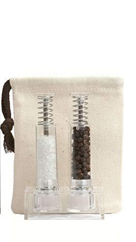 Travel Salt And Pepper Grinder Set, Grind Gourmet Original Pump & Grind Salt and Pepper Push It, Spice Grinder (Clear)