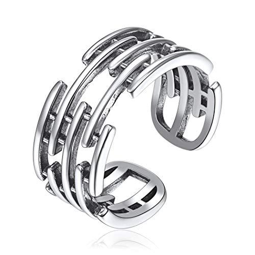 Hip Hop Wide Ring for Women Men Genuine 925 Sterling Silver Boho Jewelry Irregular Design Rings Adjustable