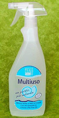 TEA NATURA - Multiuso Spray - Con Antibatterico Naturale - Efficace su Vetro e cristalli - Con oli essenziali di limone e tea tree - Vegan - 750ml