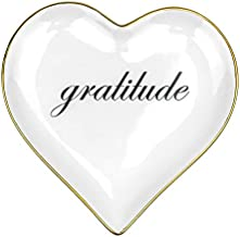 Heart Shaped Gratitude Trinket Dish (Classic White), Perfect Thank You Gifts for Women, Mom Gifts for Birthday, Jewelry Dish /Ring Holder for Jewelry by The People's Emporia, with a Stylish Black Gift Box