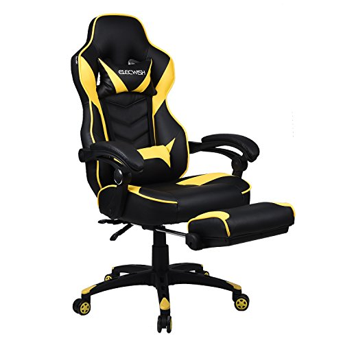 Ergonomic Computer Gaming Chair, Large Size PU Leather High Back Office Racing Chairs with Widen Thicken Seat and Retractable Footrest and Lumbar Support 170 Degree Reclining (Yellow)