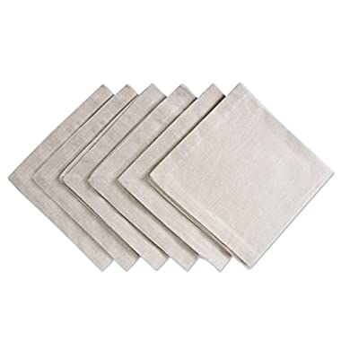 DII Chambray Pastel Basic Cloth Napkins for Everyday Place Settings with Woven Denum Look, Perfect for Weddings, Buffets, Parties, Formal Meals (20x20 Large, Set of 6) Natural