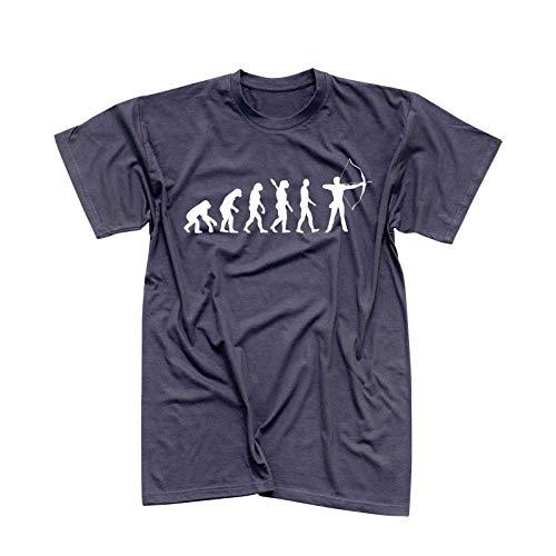 T-Shirt Evolution Bogenschütze Kyudo FITA Robin Hood 13 Farben Herren XS - 5XL IFAA DBSV Sport 3D-Schießen Langbogen Zielscheibe Pfeil Jagd, Größe:5XL, Farbe:dunkelgrau - Logo Weiss
