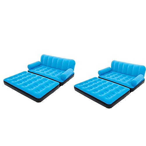 Bestway Multi-Max Inflatable Air Couch/Double Bed w/ AC Air Pump, Blue (2 Pack)