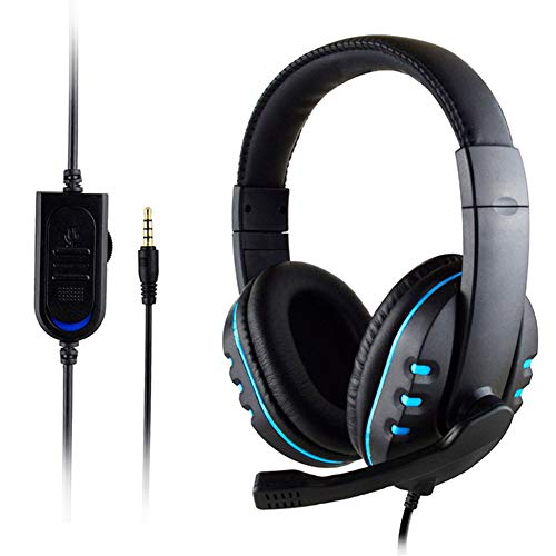 WYKsoku Head-Mounted Earphone, 3.5mm Wired Gaming Headset Earphone HD Microphone Headphone for Xbox-ONE for PS4 Black Blue Headsets