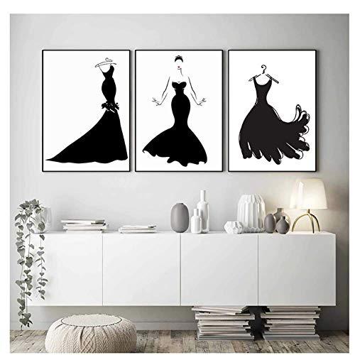 Zwarte jurk schoonheid abstract Nordic poster mode muurkunst canvas schilderij Pop Art kleding studio decoratief-40x60cmx3 zonder lijst