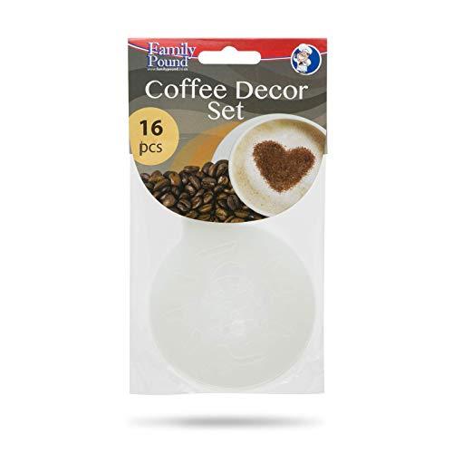 EKNA Cappuccino Kaffee Dekorier-Schablonen 16er Set - Große Auswahl - zum Dekorieren von Heißgetränken