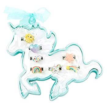 Claire s Club Unicorn Ring Set for Girls Cute Jewelry in Unicorn Case Multicolor 7 Pack