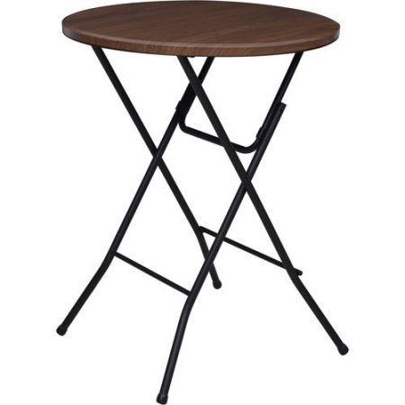 Dining table 31' Round High-Top Plastic, Metal Brown, Faux Wood Dining Table