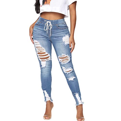 Weigou Women Hole Ripped Jeans Distressed Drawstring Elastic Waist Stretch Skinny Pants Jeans Women (Light Blue (1), XL)
