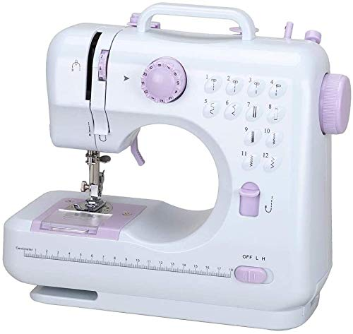 Máquina de coser portátil, mini máquinas de coser eléctricas de reparación para el hogar, 12 puntadas, 2 velocidades con pedal para coser en casa, principiantes, niños