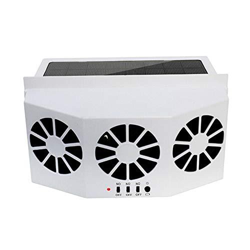 Sansund - Aire acondicionado solar portátil para coche, silencioso, ventilador de enfriamiento solar, para coche, camión, coche, refrigerador de ahorro de energía, elimina el olor, Blanco, 3 FAN